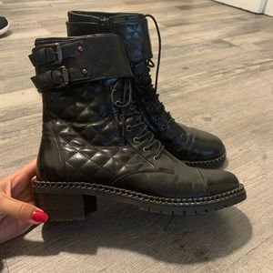 VC Signature Quilted Lace Up Boots